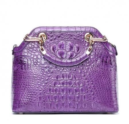 Ladies Genuine Crocodile Handbag Top Handle Purse-Purple