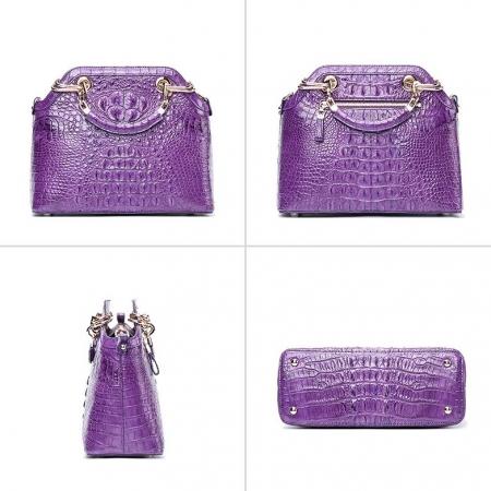 Ladies Genuine Crocodile Handbag Top Handle Purse-Purple-Display