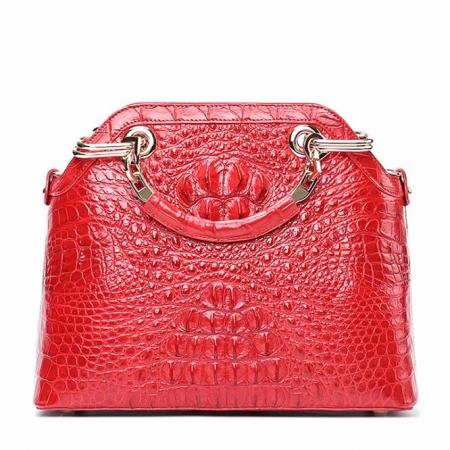 Ladies Genuine Crocodile Handbag Top Handle Purse-Red