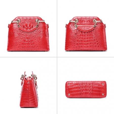 Ladies Genuine Crocodile Handbag Top Handle Purse-Red-Display