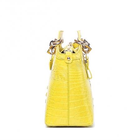 Ladies Genuine Crocodile Handbag Top Handle Purse-Side