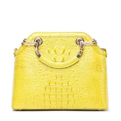 Ladies Genuine Crocodile Handbag Top Handle Purse-Yellow