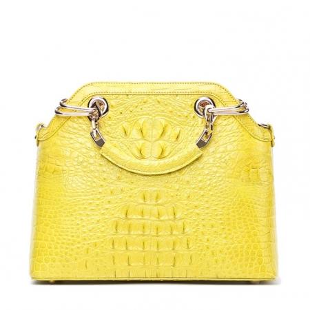 Ladies Genuine Crocodile Handbag Top Handle Purse-Yellow