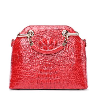 Ladies Genuine Crocodile Skin Handbag Top Handle Purse-Red