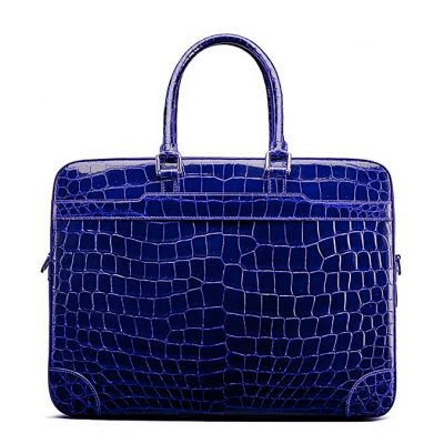 Luxury Alligator Briefcase Laptop Shoulder Bag Business Bag for Men-Blue