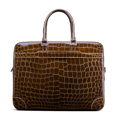 Luxury Alligator Briefcase Laptop Shoulder Bag Business Bag for Men-Brown