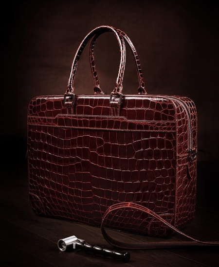 Luxury Alligator Briefcase Laptop Shoulder Bag Business Bag for Men-Display