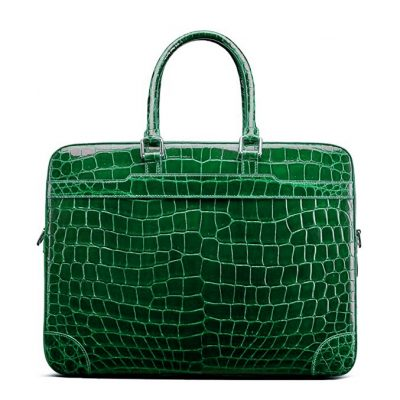 Luxury Alligator Briefcase Laptop Shoulder Bag Business Bag for Men-Green
