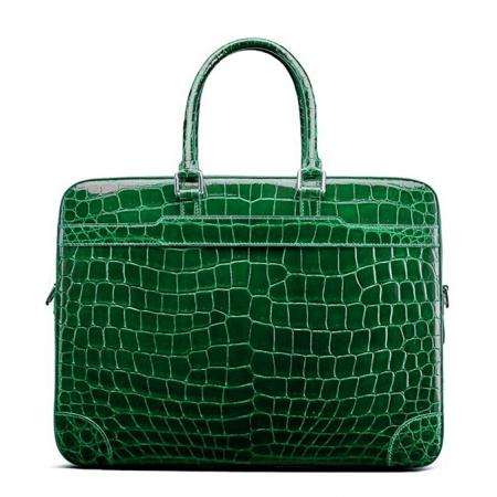 Luxury Alligator Briefcase Laptop Shoulder Bag Business Bag for Men-Green