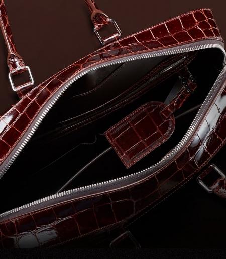 Luxury Alligator Briefcase Laptop Shoulder Bag Business Bag for Men-Inside