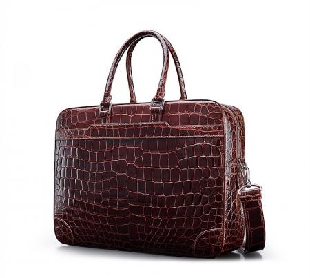 Luxury Alligator Briefcase Laptop Shoulder Bag Business Bag for Men-Micro Side