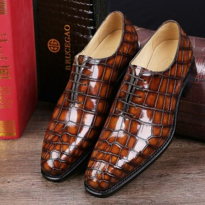 Men's Classic Alligator Leather Dress Shoes Goodyear Welt-Brown