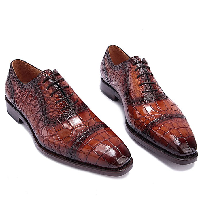 Mens Alligator Leather Cap Toe Lace up Oxford Classic Modern Business Dress Shoes-1
