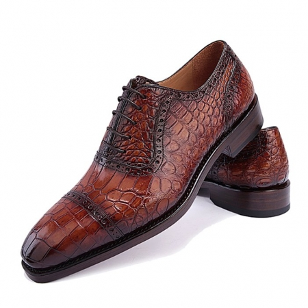 Mens Alligator Leather Cap Toe Lace up Oxford Classic Modern Business Dress Shoes-Brown