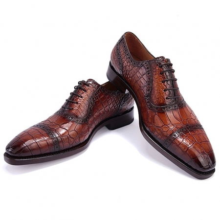 Mens Alligator Leather Cap Toe Lace up Oxford Classic Modern Business Dress Shoes-Brown-Display