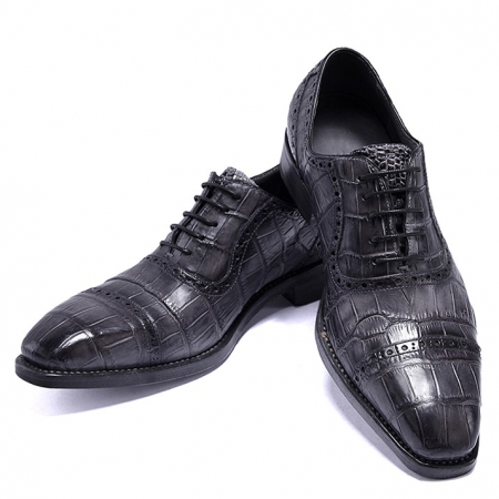 Mens Alligator Leather Cap Toe Lace up Oxford Classic Modern Business Dress Shoes-Gray-Display