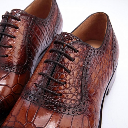 Mens Alligator Leather Cap Toe Lace up Oxford Classic Modern Business Dress Shoes-Lace up