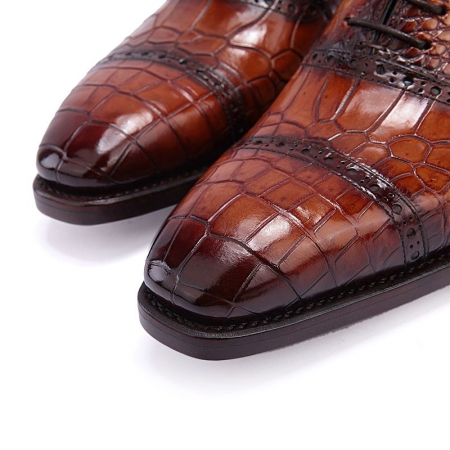 Mens Alligator Leather Cap Toe Lace up Oxford Classic Modern Business Dress Shoes-Toe