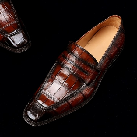 Men's Alligator Leather Loafers Shoes Slip-On Dress Shoes