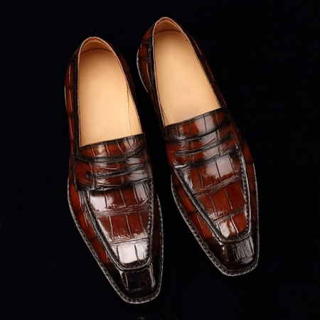 Men's Alligator Leather Loafers Shoes Slip-On Dress Shoes-Display