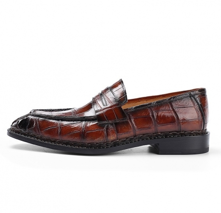 Men's Alligator Leather Loafers Shoes Slip-On Dress Shoes-Side