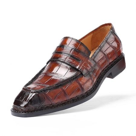 Men's Alligator Leather Loafers Shoes Slip-On Dress Shoes-Upper