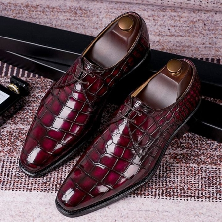 Men's Handmade Alligator Leather Modern Classic Lace-up Dress Oxfords Shoes