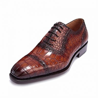 Mens Alligator Skin Cap Toe Lace up Oxford Classic Modern Business Dress Shoes