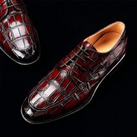Men's Burnished Genuine Alligator Leather Shoes Classic Formal Leader Dress Shoes