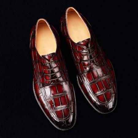 Men's Burnished Genuine Alligator Leather Shoes Classic Formal Leader Dress Shoes-Burgundy-Display