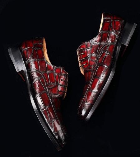Men's Burnished Genuine Alligator Leather Shoes Classic Formal Leader Dress Shoes-Display