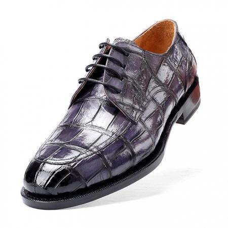 Men's Burnished Genuine Alligator Leather Shoes Classic Formal Leader Dress Shoes-Gray