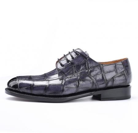 Men's Burnished Genuine Alligator Leather Shoes Classic Formal Leader Dress Shoes-Gray-Side