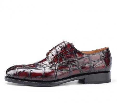 Men's Burnished Genuine Alligator Leather Shoes Classic Formal Leader Dress Shoes-Side