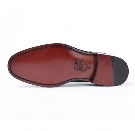 Men's Burnished Genuine Alligator Leather Shoes Classic Formal Leader Dress Shoes-Sole