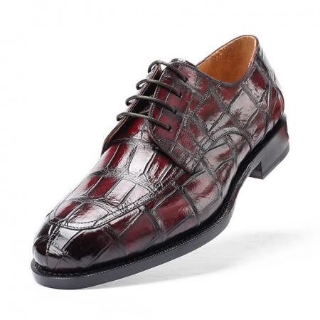 Men's Burnished Genuine Alligator Leather Shoes Classic Formal Leader Dress Shoes-Upper