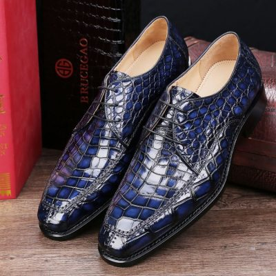 Men's Classic Office Alligator Skin Lace up Pointed-Toe Oxfords Dress Shoes
