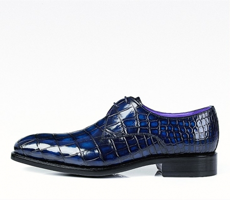 Men's Handmade Alligator Leather Modern Classic Lace-up Dress Oxfords Shoes-Blue