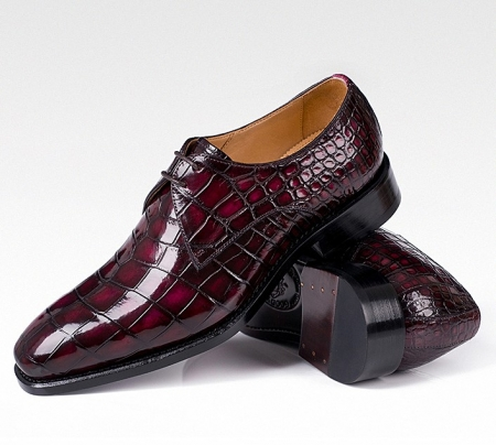 Men's Handmade Alligator Leather Modern Classic Lace-up Dress Oxfords Shoes-Burgundy-1