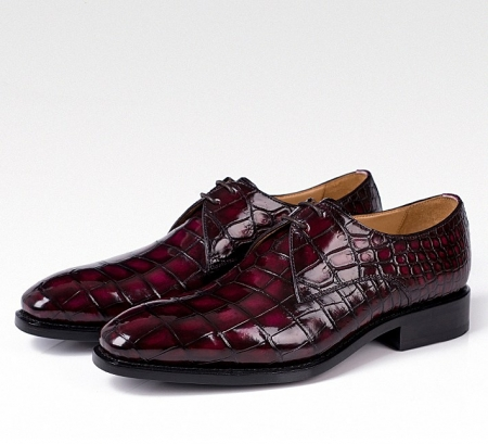 Men's Handmade Alligator Leather Modern Classic Lace-up Dress Oxfords Shoes-Burgundy-3