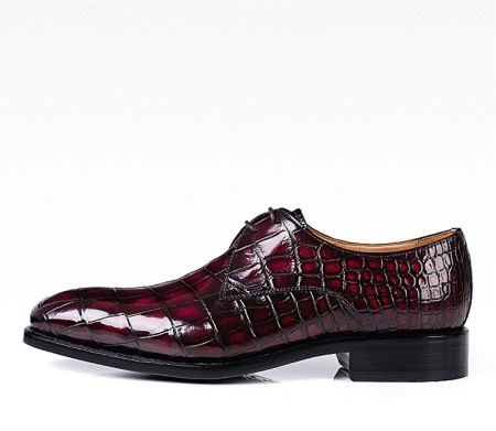 Men's Handmade Alligator Leather Modern Classic Lace-up Dress Oxfords Shoes-Burgundy