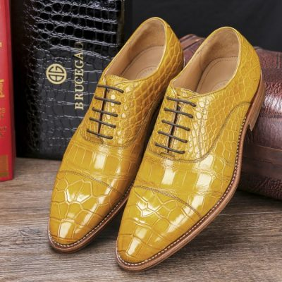 Men's Lace up Oxfords Classic Modern Round Cap Toe Alligator Leather Dress Shoes