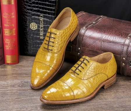 Men's Lace up Oxfords Classic Modern Round Cap Toe Alligator Leather Dress Shoes-Display