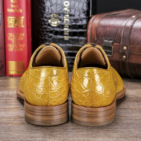 Men's Lace up Oxfords Classic Modern Round Cap Toe Alligator Leather Dress Shoes-Heel