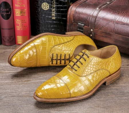 Men's Lace up Oxfords Classic Modern Round Cap Toe Alligator Leather Dress Shoes-Lace up