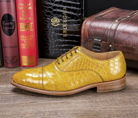Men's Lace up Oxfords Classic Modern Round Cap Toe Alligator Leather Dress Shoes-Side
