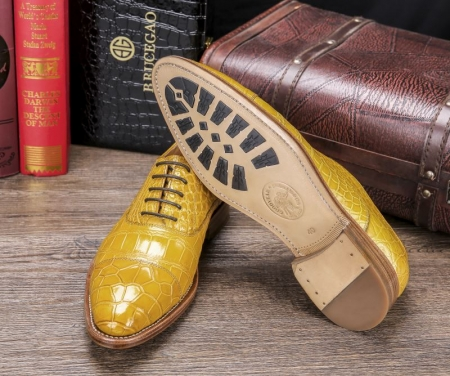 Men's Lace up Oxfords Classic Modern Round Cap Toe Alligator Leather Dress Shoes-Sole