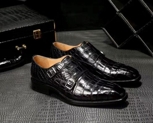 alligator shoes for business occasions-Black