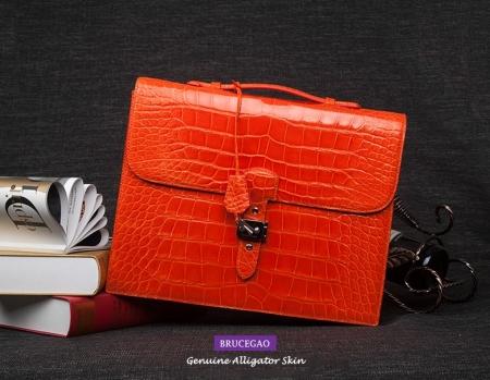 Alligator Leather Briefcase Handbag for Businesswomen