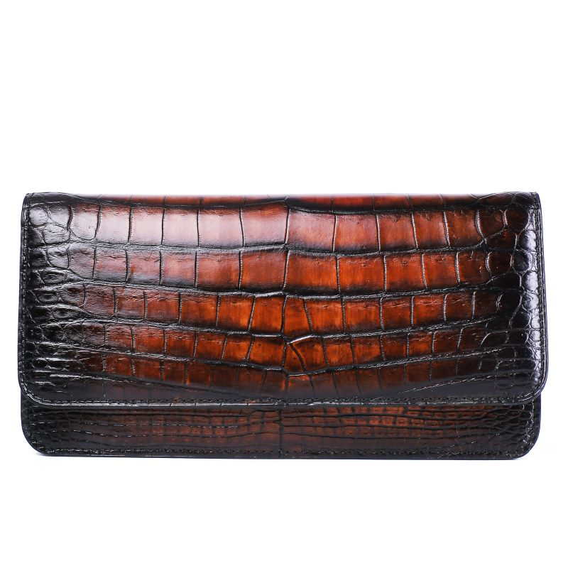 Alligator Leather Clutch Purse Long Ladies Credit Card Holder-Brown